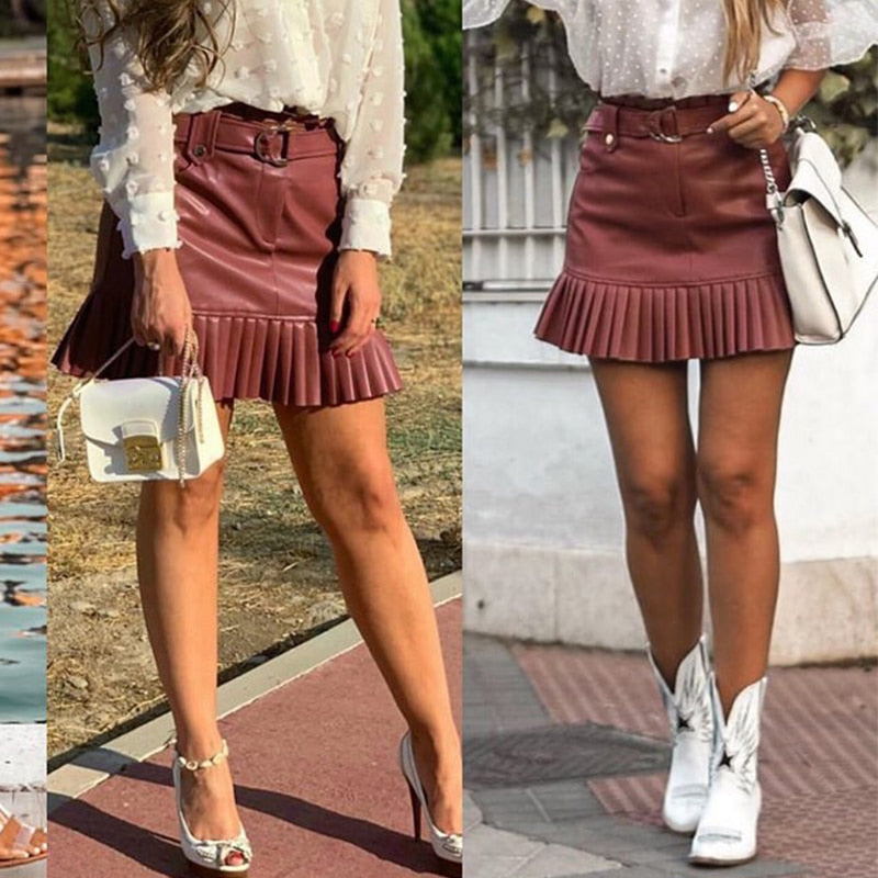 Sash belt PU leather women skirt