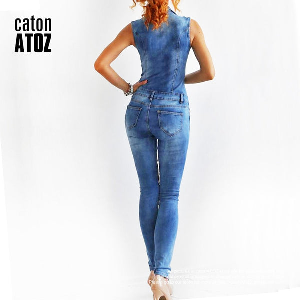 Womannewstyle New Arrival Sleeveless Jumpsuit Jeans