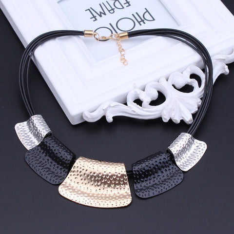 Womannewstyle Black Rope Chain Big Alloy Geometric Patterns Necklaces