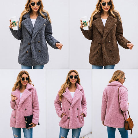 Womannewstyle Casual Teddy Coat Winter Jacket Coat