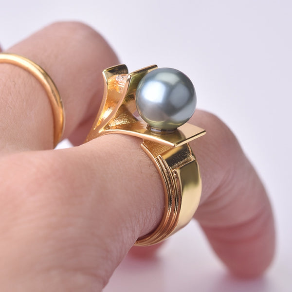Rings for Women Green Pearl Ring Anniversary Gift Copper Ring