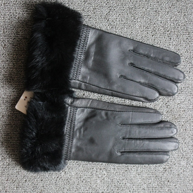 Womannewstyle high quality Women Lady Black sheepskin Leather Gloves