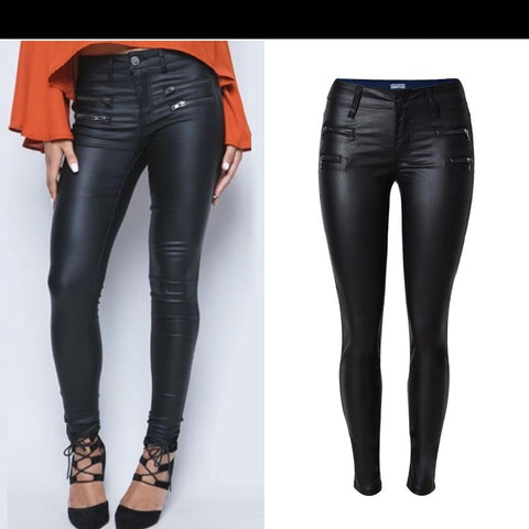 Womannewstyle Autumn winter women low waist slim feet PU leather pants