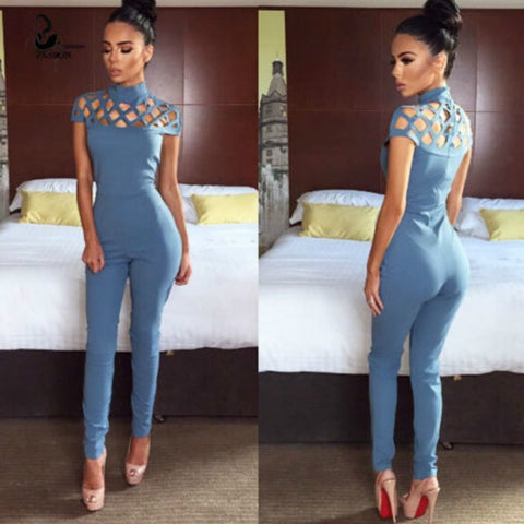 Womannewstyle Sexy Hollow Out  Jumpsuit