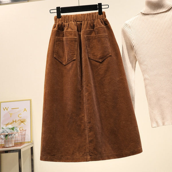 woman new style Plus Size Women Corduroy Skirt