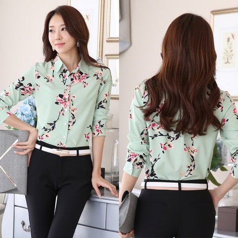 Long Sleeve Blue butterfly Flower Print Blouse