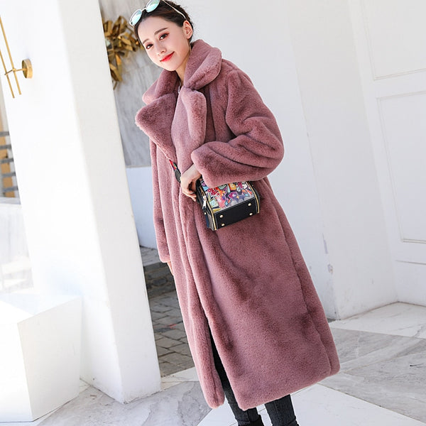 Womannewstyle Winter Women High Quality Faux Rabbit Fur Coat