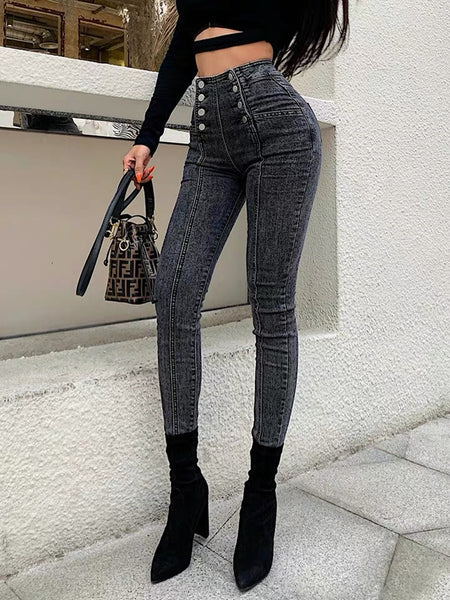 Womannewstyle High waist jeans women's double breasted elastic skinny jeans