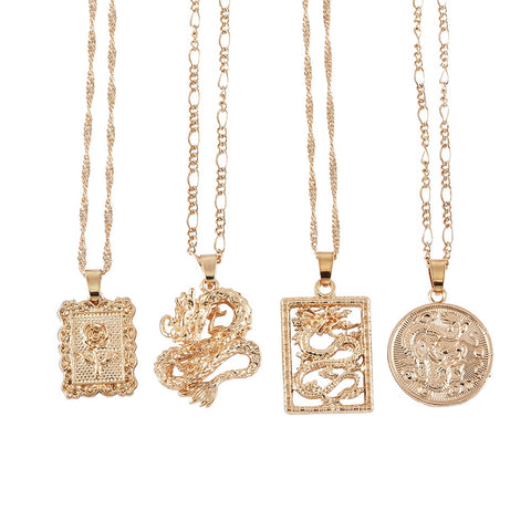 Womannewstyle New Fashion Dragon Pendant Necklaces=