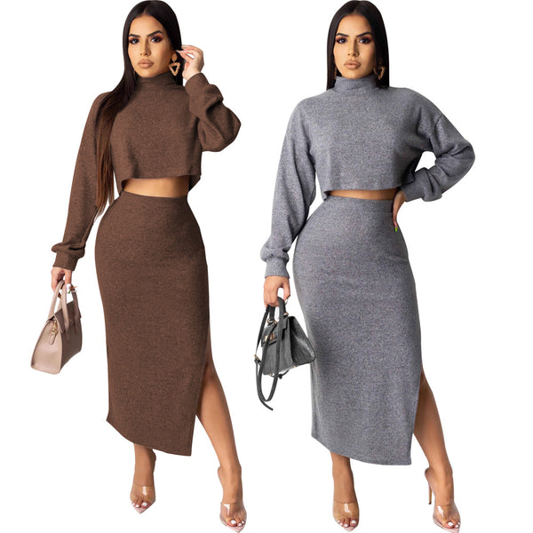 2 Piece Set Casual Knitted Tracksuit Set