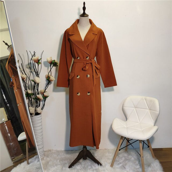 Womannewstyle Long Sleeve Lapel Long Jacket