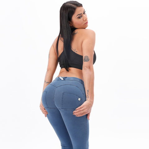 Womannewstyle Mid Waist Denim Wash Jeggings Butt Lifting Snug Stretch Skinny Jeans