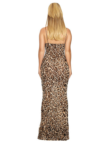 Vintage Animal Print Party Maxi Dress