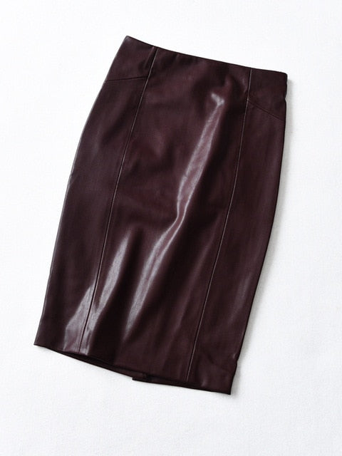 woman new style  Soft PU Leather Pencil Midi Skirt