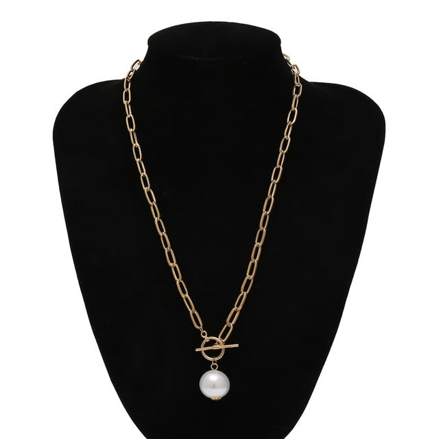 Womannewstyle Gothic Baroque Pearl Pendant Choker Necklace