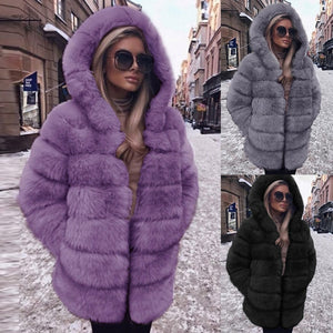 Womannewstyle Fashion Luxury Faux Fur Coat