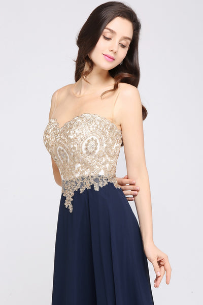 Womannewstyle Elegant Evening Dress Navy Blue Chiffon