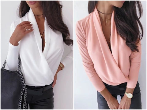 Womannewstyle V neck office ladies blouses