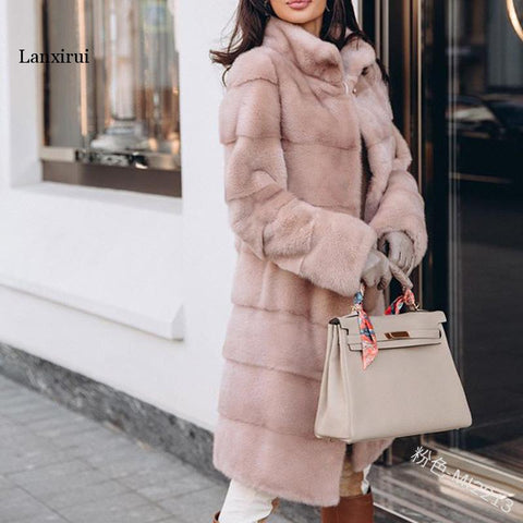 Womannewstyle Winter Women High Quality Rabbit Faux Fur Coat