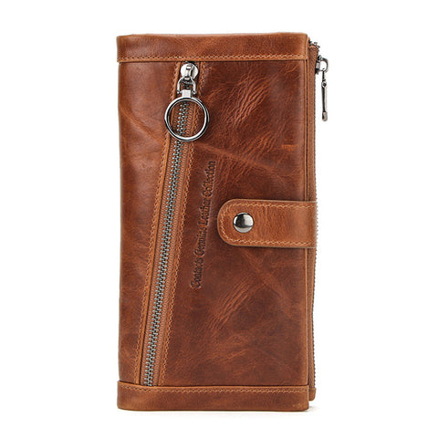 Womannewstyle Long Wallet Men Genuine Leather Purse Wallets