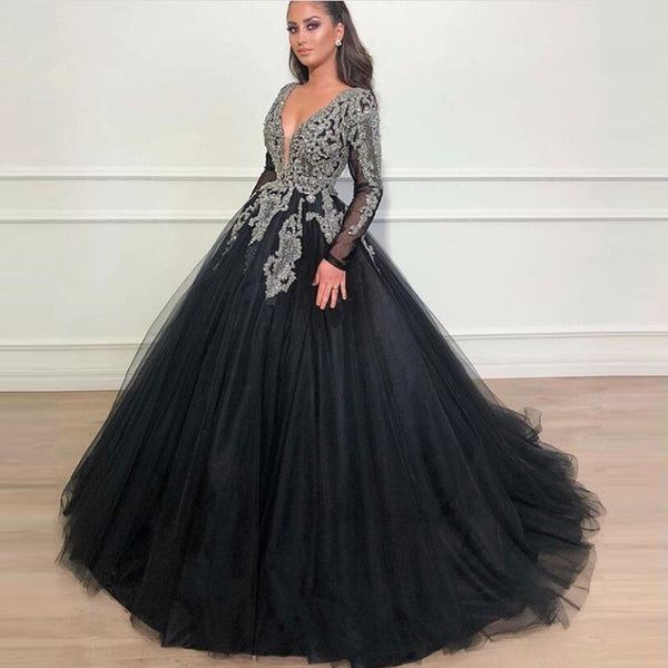 Womannewstyle Vintage Black Crystal Evening Dress