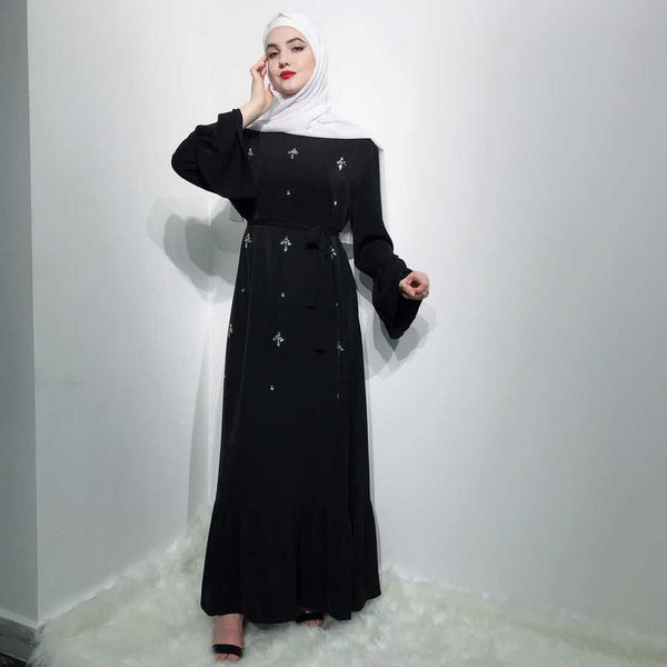 Womannewstyle Black Diamonds Muslim Maxi dress