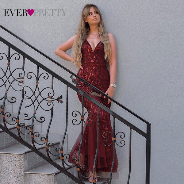 Womannewstyle Burgundy Evening Dress