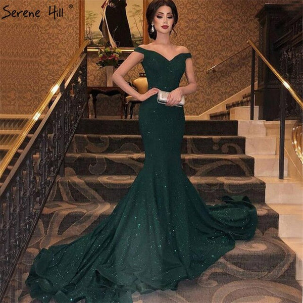 Womannewstyle Green Off Shoulder Sparkle Sexy Evening Dress