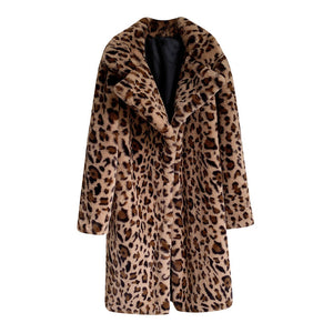 Womannewstyle Women Faux Fur Coat Leopard Print coat