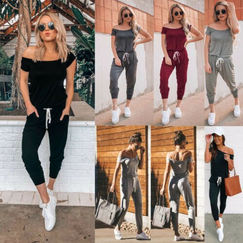 Womannewstyle Hirigin Women's Casual Off Shoulder Jumpsuit