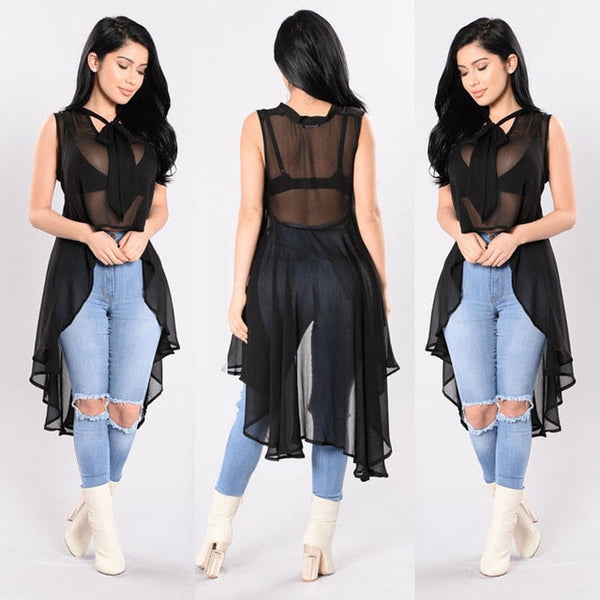 Womannewstyle Transparent Fluoroscopy Sleeveless Loose Blouse