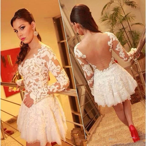 Womannewstyle A-line Lace Long Sleeve Sheer Back Mini Homecoming Dress