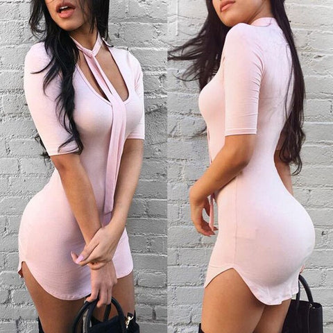Solid Bodycon Mini Dress with Short Sleeve