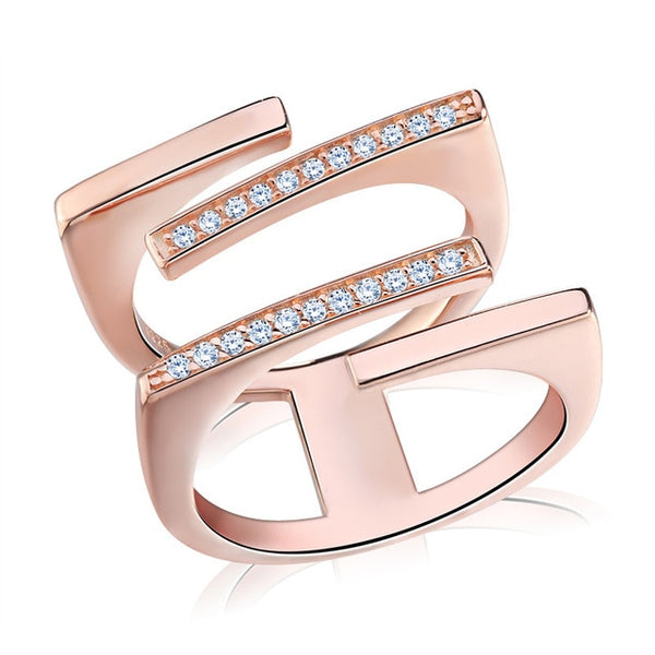 Womannewstyle JEWELS Rose Gold Color&Silver Color Unique Geometric Design CZ Ring