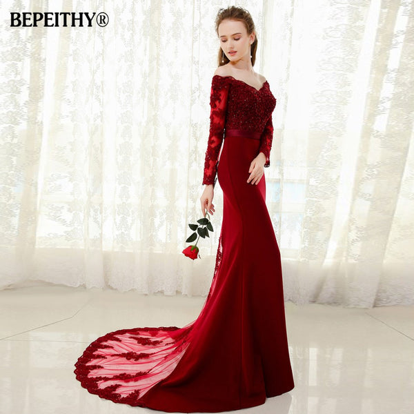 Womannewstyle Mermaid Lace Top Bodice Slim Line Long Bridesmaid Dress