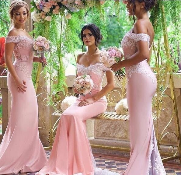 Womannewstyle Pink Lace Applique Sexy 2020 new Mermaid Long Bridesmaid Dress