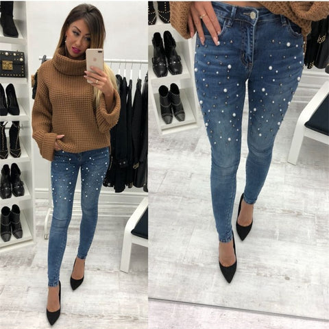 Womannewstyle blue Jeans Pants Skinny Pearl Beaded black Jeans