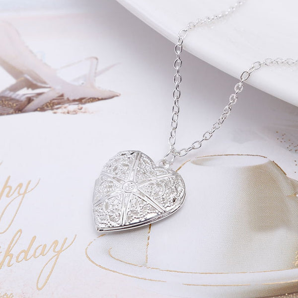 Womannewstyle Fashion Creative Heart Shape Hollowed Photo Secret Medallion Pendant Necklace
