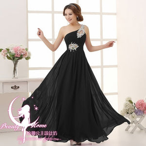 Womannewstyle HOT chiffon crystal one shoulder bridesmaid dresses