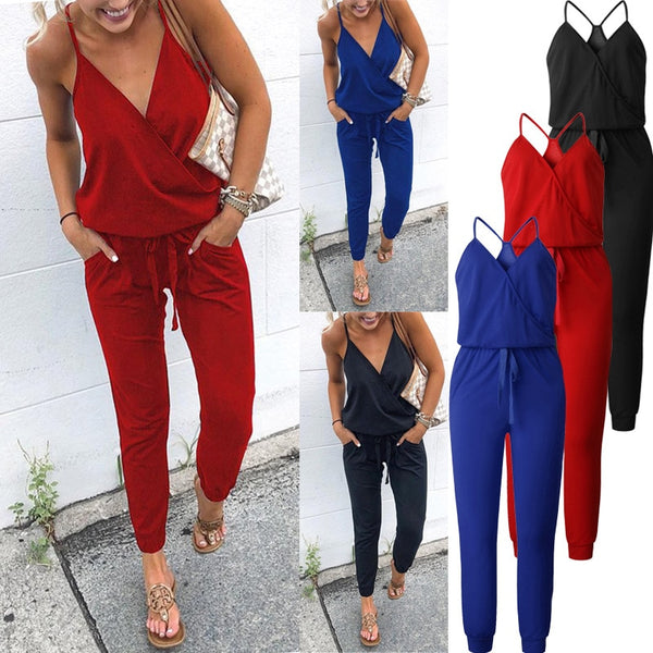 Womannewstyle Sexy Spaghetti Cross Strap Lace Up Jumpsuit