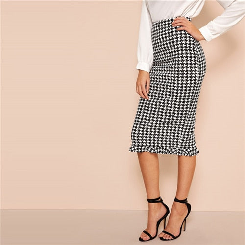 woman new style Black And White Ruffle Hem Bodycon Houndstooth Sheath Skirt