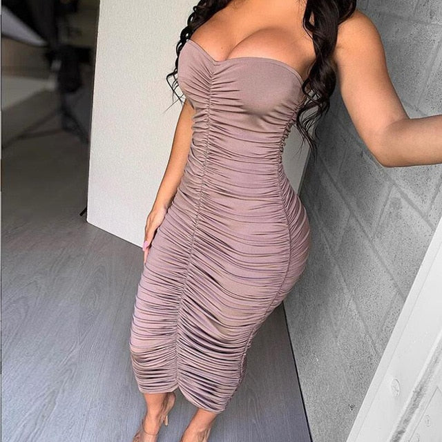 Maxi Summer Dress 2020 Ruched Party Dress Women Off Shoulder
