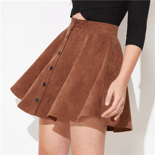 womannewstyle Solid Button Up Flare Cord Skirt