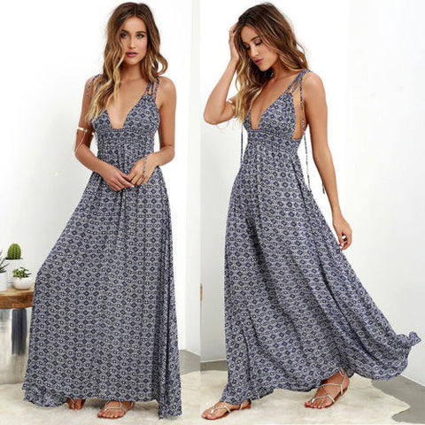 Maxi Vintage Women Spaghetti Strap Dress