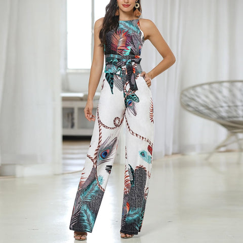 Womannewstyle Spaghetti Strap Peacock Print Jumpsuit