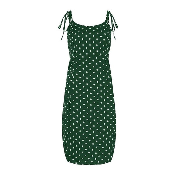Causal Polka Dot Sleeveless High Pleated elastic waist V Neck Beach Dress