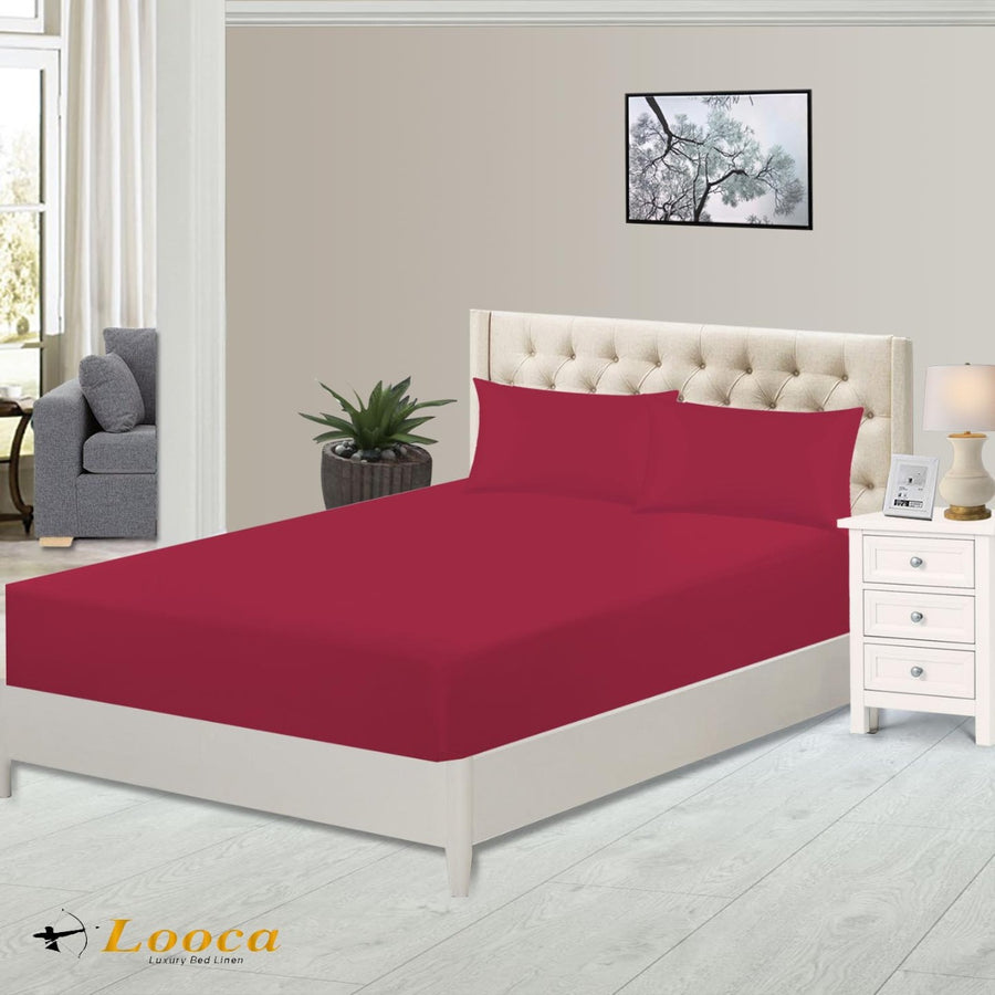 Luxury High Quality Plain Dyed Red Fitted Sheet