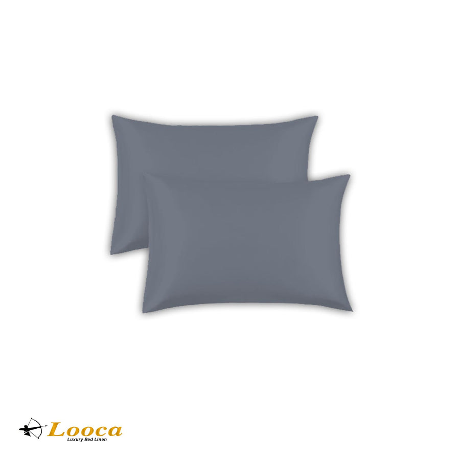 Luxry Quality Plain Dyed Oxford Gray Pillow Cases Pair