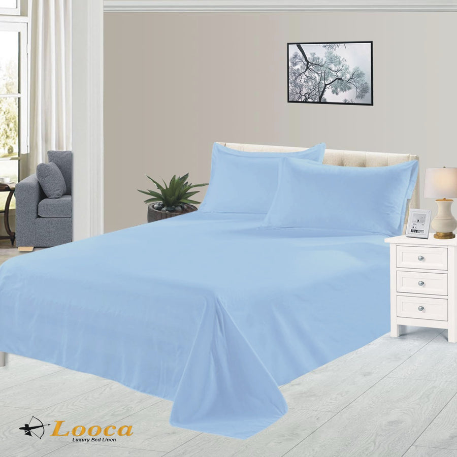 Luxury Quality Plain Dyed Sky Blue Flat Sheet