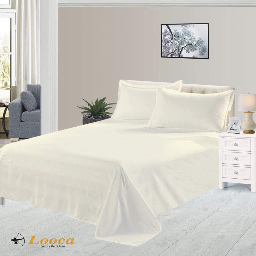 Luxury Quality Plain Dyed Cream Flat Sheet